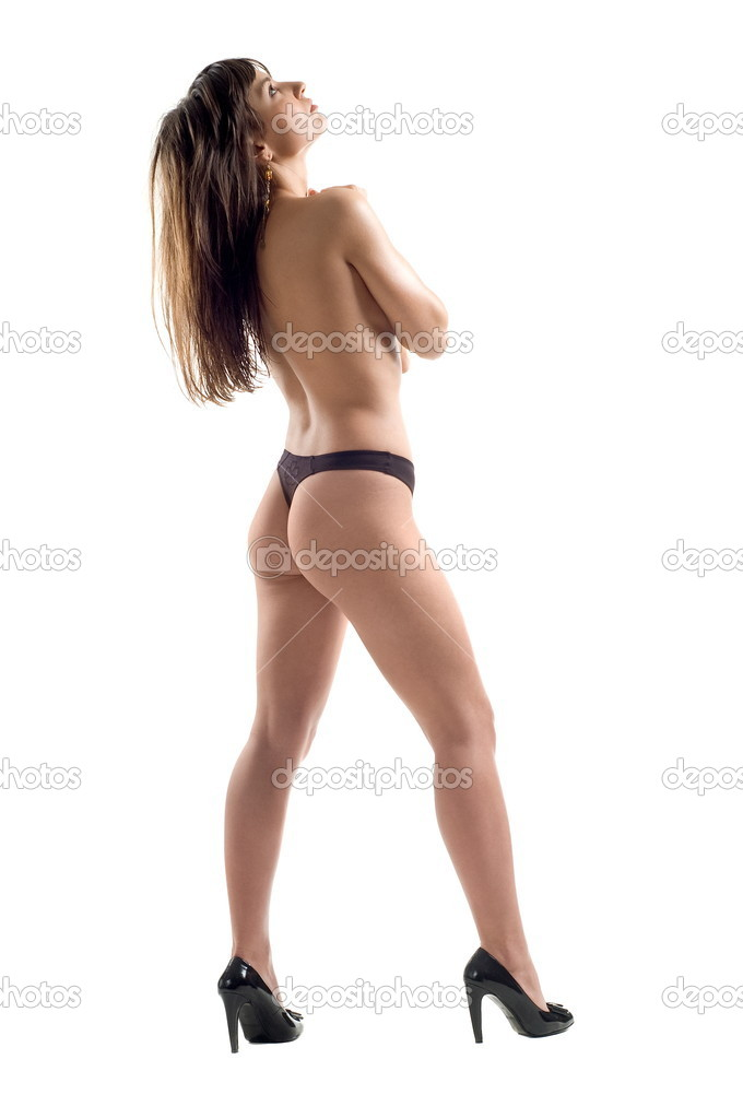 Beautiful sexual denuded girl brunette on white background is insulated — Stock Photo #6952917