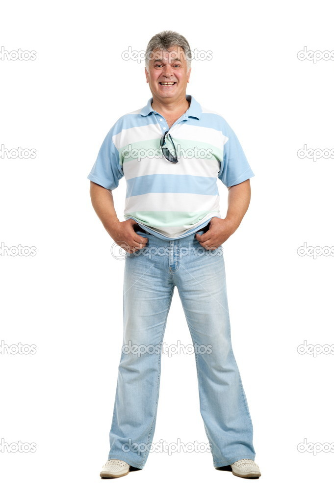 Adult man pose on white background is insulated — Stock Photo #6953347
