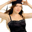 Beautiful girl in hat of the master — Stock Photo #6963267