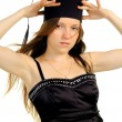 Beautiful girl in hat of the master — Stock Photo