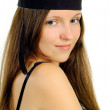 Beautiful girl in hat of the master — Stock Photo #6963592