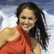 Beautiful woman on a boat in kaneohe bay — Stockfoto