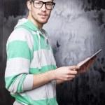 Good Looking Smart Nerd Man With Tablet Computer — Stock Photo