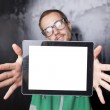 Snygg smart nörd man med tablet PC — Stockfoto #7727308