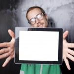 buen hombre inteligente nerd con tablet PC — Foto de Stock