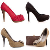 Four female high-heeled shoes — Stock Photo