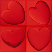 4 red hearts — Stock Photo