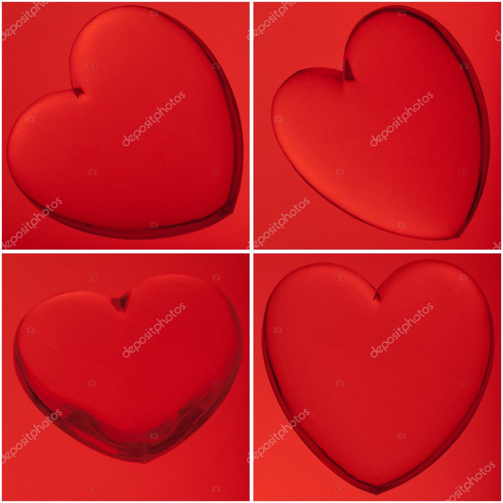 Four translucent hearts on red background, love concept. — Stock Photo #7303887