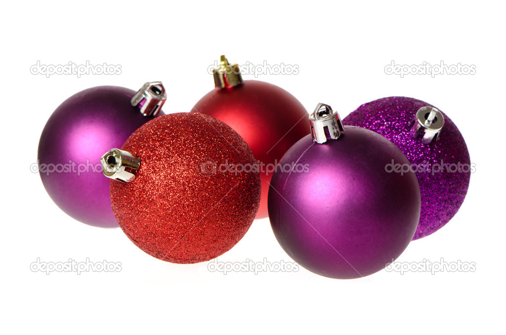 Christmas balls decorations isolated on white background. — Stock Photo #7548780