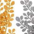 Stock Photo: Christmas decorative golden and silver leaves