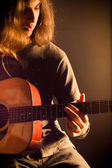Singer Songwriter with Guitar — Stock Photo