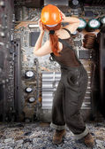 Red-haired worker girl — Stock Photo