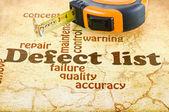 Defect lijst — Stockfoto
