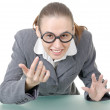 Manager girl is engaged clowning — Stock Photo #7495104