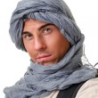 Tourist hiding his head under a shawl — Stock Photo