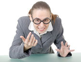 Manager girl is engaged clowning — Stock Photo