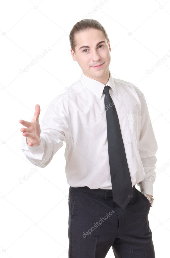 Businessman gesturing with emotions on a white background — Stock Photo #7495164