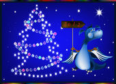 Dark blue dragon-New Year's a symbol of 2012 — Stock Vector