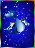 Dark blue dragon a symbol of new 2012 on east calendar — Stock Photo