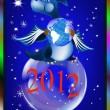 Dark blue dragon-New Year's a symbol of 2012 — Stok Vektör