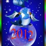 Dark blue dragon-New Year's a symbol of 2012 — Stok Vektör