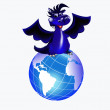 Dark blue dragon-New Year's a symbol of 2012 — Stockvectorbeeld