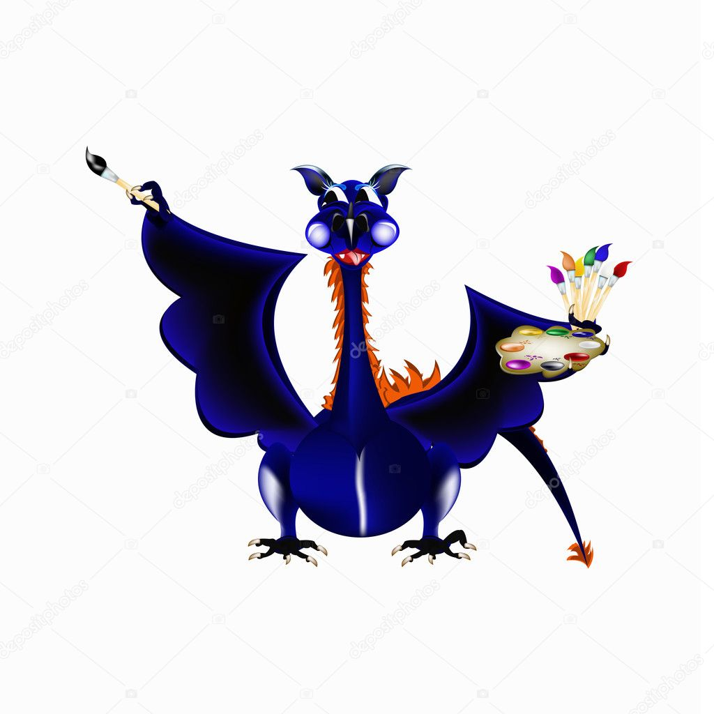 Dark blue dragon a symbol of new 2012 on east calendar  Stock Photo #6967432