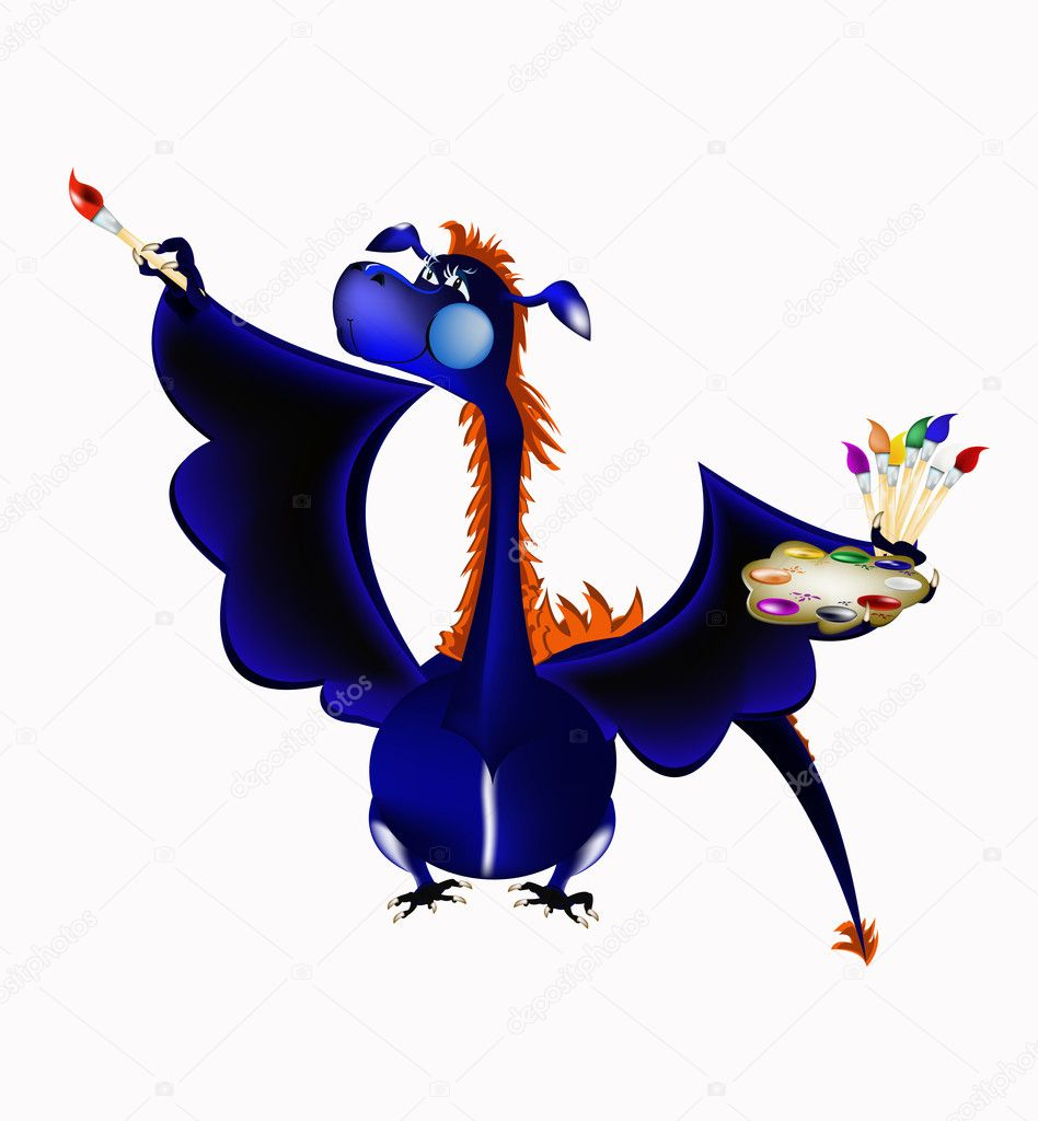 Dark blue dragon a symbol of new 2012 on east calendar  Vektorgrafik #6969207