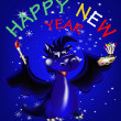 Stock Photo: Dark blue dragon symbol of new 2012 on east calendar