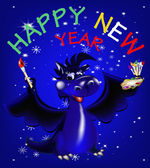Dark blue dragon a symbol of new 2012 on east calendar — Stock Photo