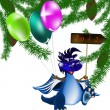 Stock Photo: Dark blue dragon-New Year's a symbol of 2012