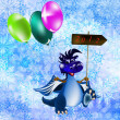 Dark blue dragon-New Year's a symbol of 2012 — Foto Stock