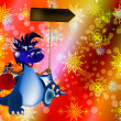 Dark blue dragon-New Year's a symbol of 2012 — Stock Photo