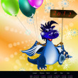 Dark blue dragon-New Year's a symbol of 2012.2012 Calendar — Stock Photo