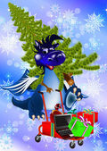Dark blue dragon-New Year's a symbol of 2012 — Stock Photo