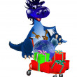 Dark blue dragon-New Year's a symbol of 2012 - Stock Photo