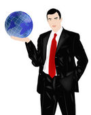 The successful businessman holds in a hand globe — Stock Photo