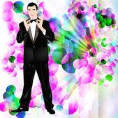 The romantic celebratory man in a classical tuxedo — Stock Photo