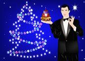 The New Year's romantic celebratory man — Stockfoto