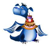 暗い青ドラゴンの新しい年 — ストックベクタ