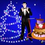 Celebratory Christmas pie from the elegant man — Stock Photo #7593801