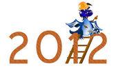 Dark blue Dragon the New Year's builder — Stock Photo