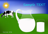 Fresh cow milk — Stock Vector