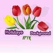 Celebratory bouquet of beautiful tulips — Stock Vector