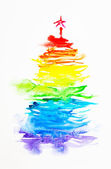 Rainbow christmas tree — Stockfoto