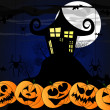 Vector illustration with creepy house, pumpkins for halloween — Stockfoto
