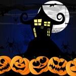illustration vectorielle avec maison effrayant, citrouilles d'halloween — Photo