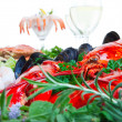 Lobster and seafood — Stock Photo