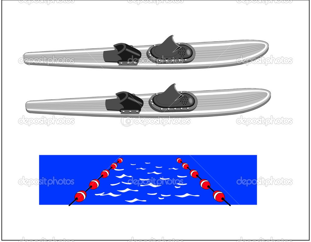 Water Ski - Slalom — Stock Vector #7382880