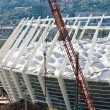 Soccer stadium under construction - Stock Photo